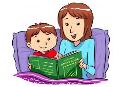 讲故事的妈妈与小男孩卡通插图