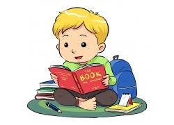 读书的小男孩卡通插图