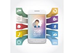 彩色立体方块手机信息图表