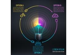 彩色圆环灯炮信息图表