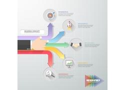 彩色箭头商务人物手信息图表