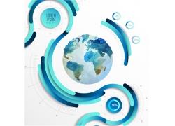 地球蓝色曲线信息图表