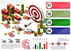 镖靶与金融信息图表