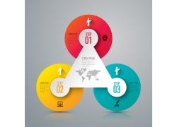 彩色圆环三角形信息图表