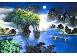 象鼻山水国画