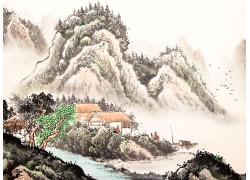 水墨乡村风景国画