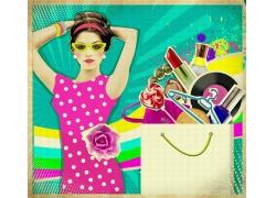 一堆化妆品和时尚美女