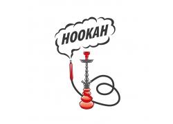 烟雾和红色水烟标志