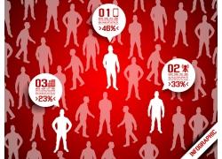 红色背景商务团队图表