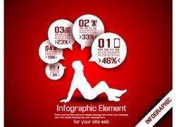 红色背景商务人物图表