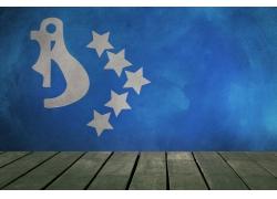 蓝色世界国旗背景