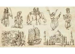 手绘印度人物和建筑