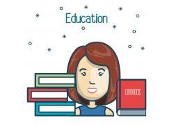 教育书本和女大学生