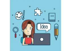 上网女大学生和教育图标