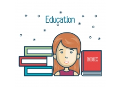 教育书本和女学生