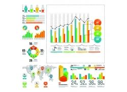 彩色商务表柱图表