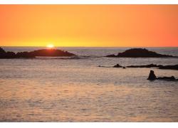 天空夕阳海洋背景