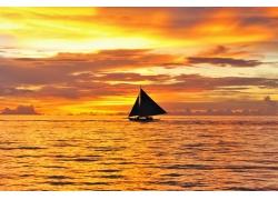 夕阳天空海洋背景