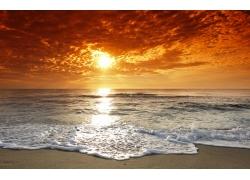 天空阳光海洋背景