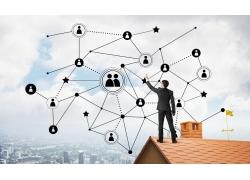 互聯網圖標和商務男人