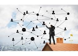 屋顶网络图标商务男人