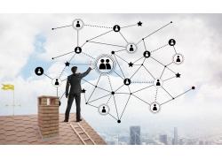 屋顶网络图标商务男人图