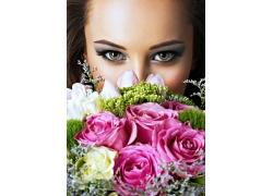 玫瑰花與美女雙眼