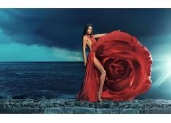 性感美女與玫瑰花