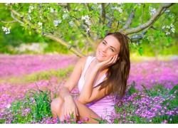 春天鲜花美女写真