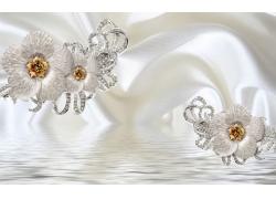 立體花朵絲綢褶皺