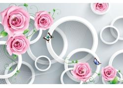 卡通玫瑰立體圓環