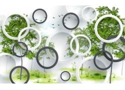 樹木與立體圓環