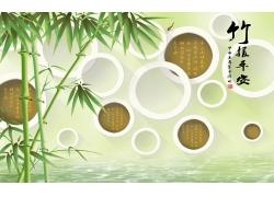 竹子立體圓環背景