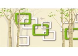 卡通樹木立體方框