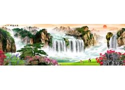 中国画山水风景