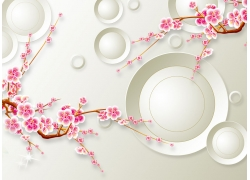 桃花立體圓環背景