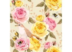 黄花粉色花朵图案