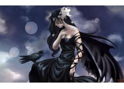 乌鸦与美女壁纸