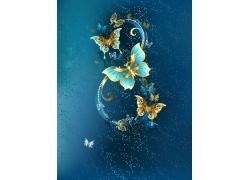金色蝴蝶时尚花纹