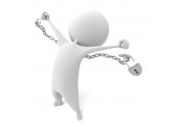 掙脫鎖鏈的3D小人