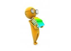 抱著書本的3D小人