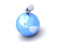 地球思考的3D小人