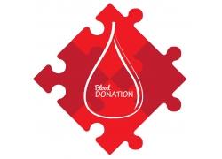 红色拼图公益海报设计