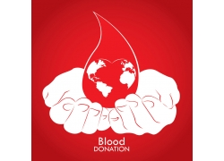 双手中的血滴公益海报