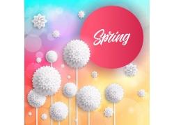 白色花朵春季海报设计