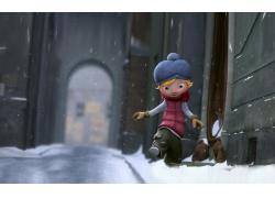 3D小人與雪地街道