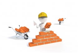 砌磚墻立體小人