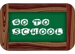 学校粉笔字和绿色黑板