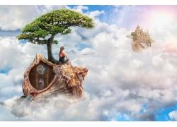 天空云海海螺建筑与人物