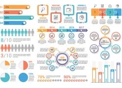 彩色圆环商务人物图表
